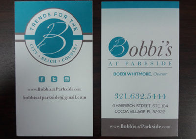 Bobbi's At Parkside Business Card