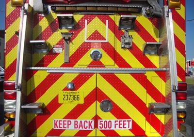 Brevard County Fire Rescue Chevron Striping Over Diamondplate
