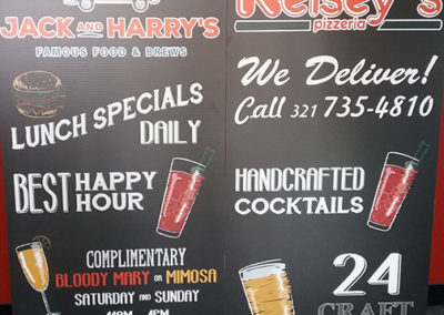 Kelsey's and Jack & Harry's Coroplast Signs