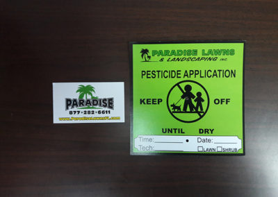 Paradise Lawns Business Card & Pest Application Card