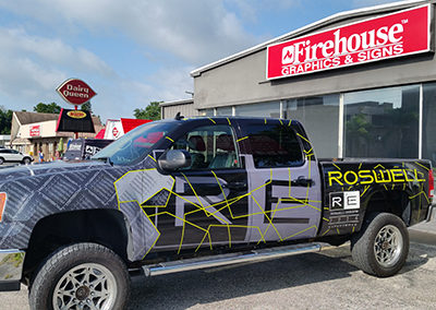 Roswell Black Truck Wrap